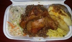 stewed chicken, chow mein, cabbage(?), ground provisions