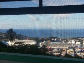 Clear view of Central Castries Harbor from my window