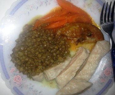 fish, carrots, dumplings, and lentils