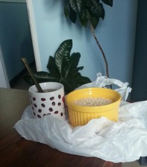 Breakfast or lunch(?) at work! Oatmeal and tea
