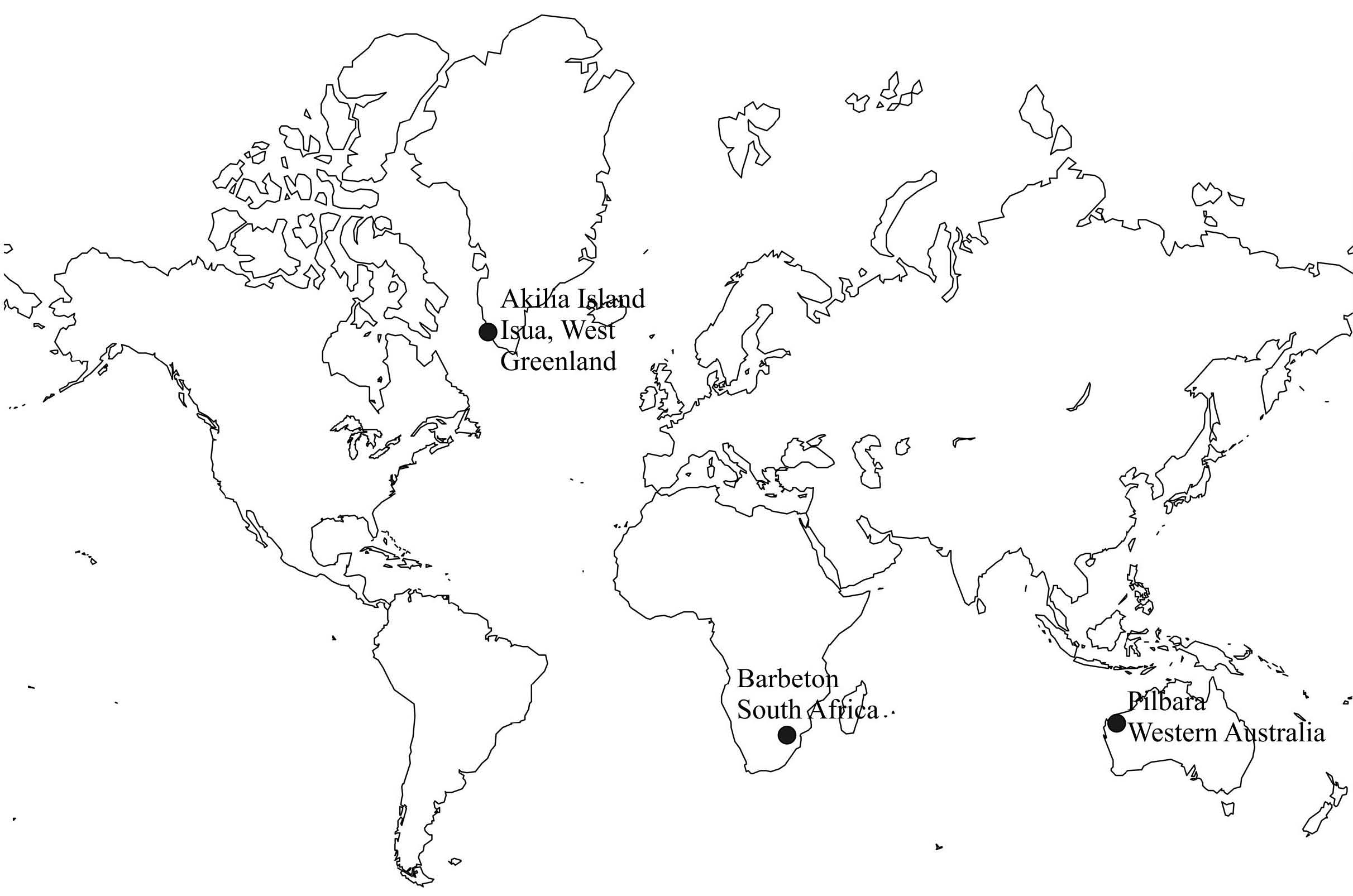 Figure 1 location of the three sites with eoarchean isua and akilia island greenland and paleoarchean pilbara australia and barberton africa crust