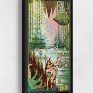 Rani Creates Sound in the Jungle Long Vertical Matte Framed Canvas Wall Art
