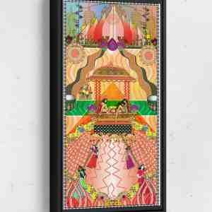 Gala Long Vertical Matte Framed Canvas Wall Art