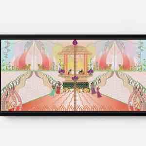 Gala Long Horizontal Matte Framed Canvas Wall Art
