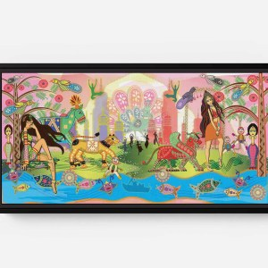 Intro Rani and Sheena Long Horizontal Matte Framed Canvas Wall Art