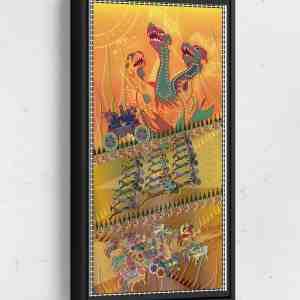 Land War Scene Long Vertical Matte Framed Canvas Wall Art