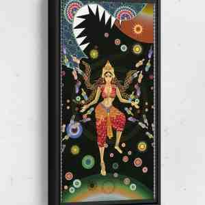 Sheena Defeats Dragon Lion Long Vertical Matte Framed Canvas Wall Art