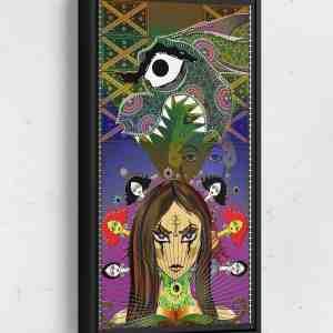 Sheena Dragon Long Vertical Matte Framed Canvas Wall Art