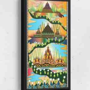 Three Castles Long Vertical Matte Framed Canvas Wall Art