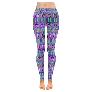 Purple and Blue on Paisley Low Rise Leggings