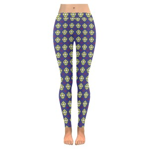 Blue and Yellow Geo Low Rise Leggings