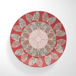 Extravagant Floral on Red Dinnerware Plate