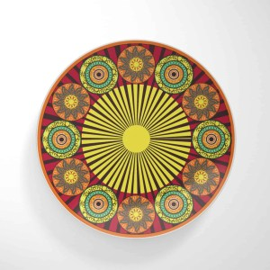 Flower Wheels Red Base with Spokes Dinnerware Plate