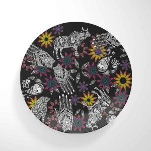Hand and Animal Collage on Black Dinnerware Plate