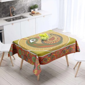 Multi Pattern Peacock Table Cloth