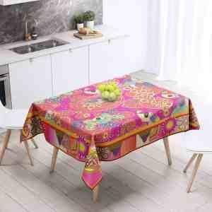 Summer-Peacock-on-Peach Table Cloth