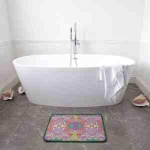 Purple Pastel Wire Henna Border Bath Mat