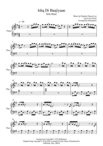 Ishq Di Baajiyaan piano notes