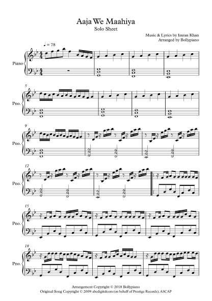 Aaja We Maahiya piano notes