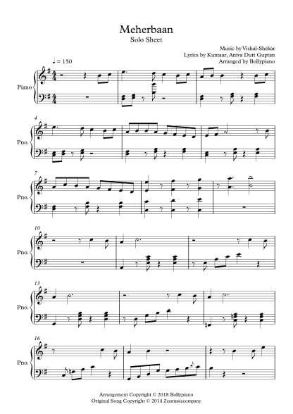 Meherbaan piano notes (Bang Bang!)