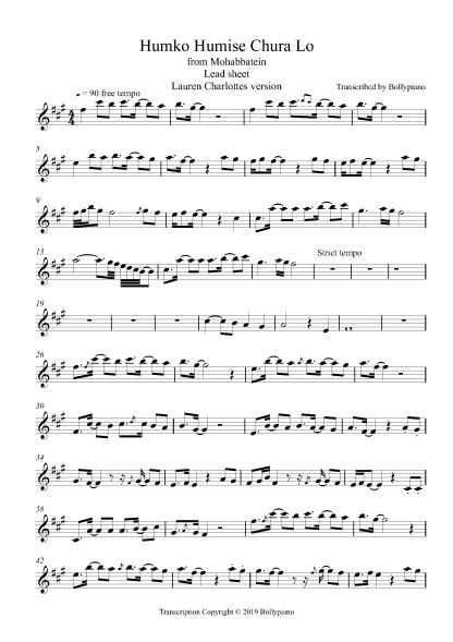 Humko Humise Chura Lo flute / violin notes