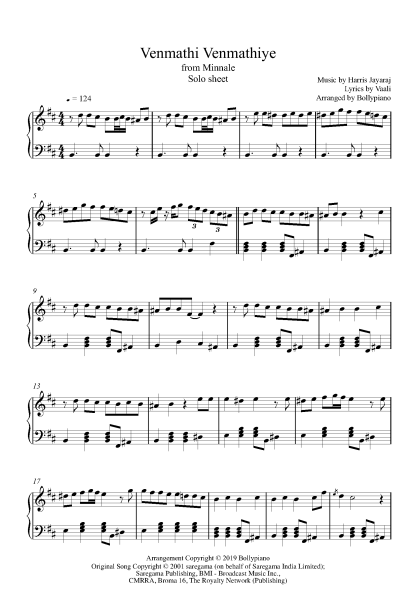 Venmathi Venmathiye piano notes