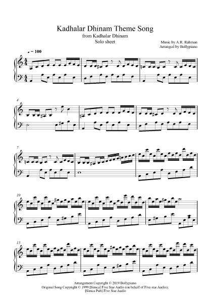 Kadhalar Dhinam Theme Song piano notes