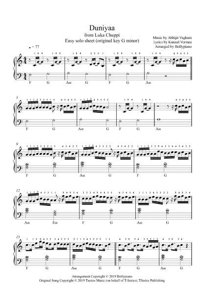 Duniyaa - Luka Chuppi (Easy) piano notes