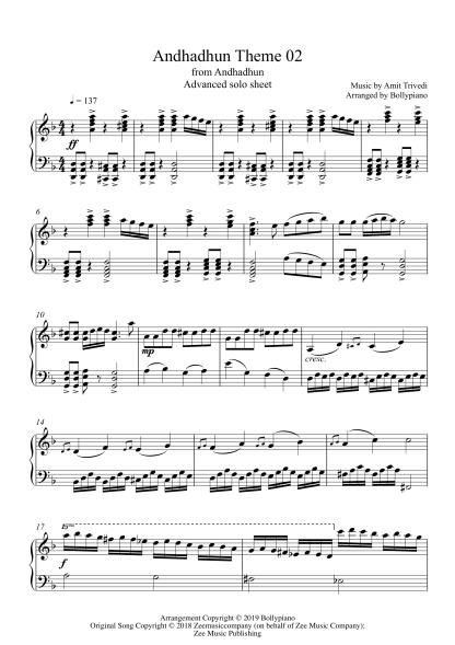 Andhadhun Theme 02 Advanced Piano Notes