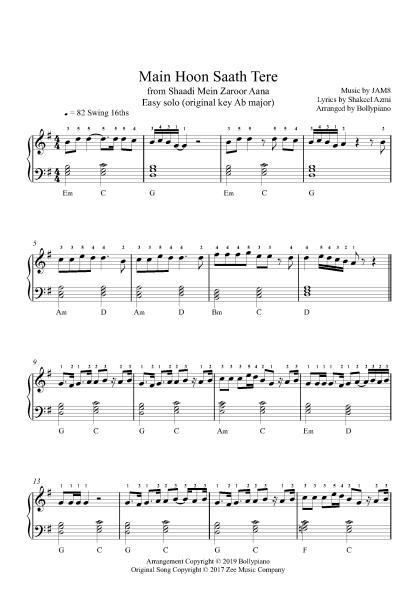 Main Hoon Saath Tere Easy Piano Notes