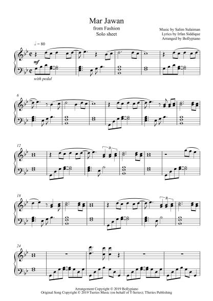 Mar Jawan - Fashion piano notes