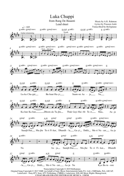 Luka Chuppi - Rang De Basanti flute / violin notes