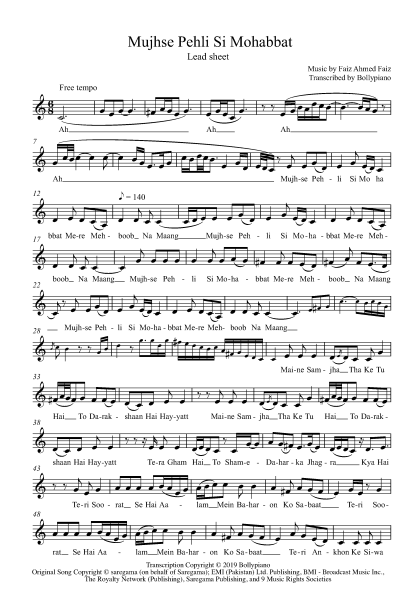 Mujhse Pehli Si Mohabbat flute / violin notes