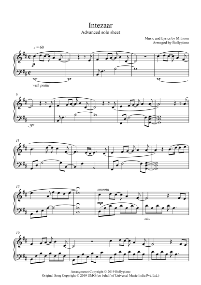 Intezaar Advanced Piano Notes