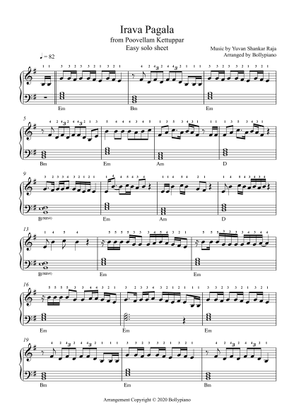 Irava Pagala easy piano notes