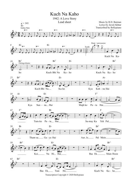 Kuch Na Kaho - 1942 A Love Story flute / violin notes