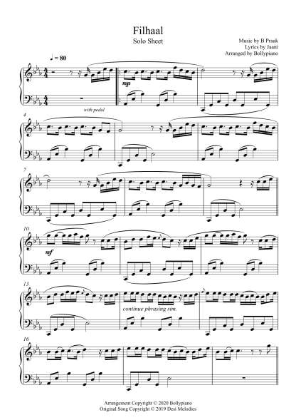 Filhall - B Praak piano notes