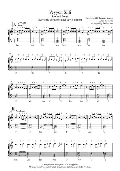 Veyyon Silli - Soorarai Pottru easy piano notes