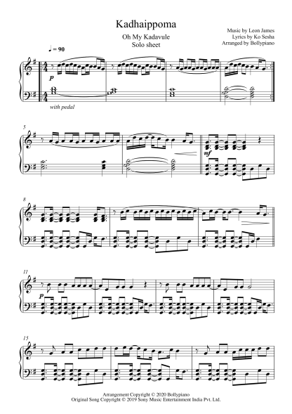 Kadhaippoma - Oh My Kadavule piano notes