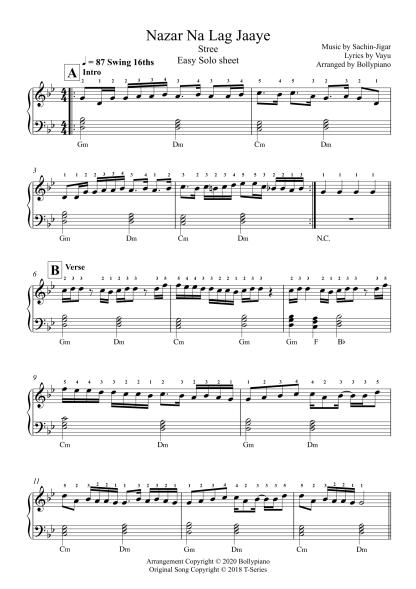 Nazar Na Lag Jaaye - Stree easy piano notes