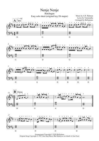 Nenje Nenje - Ratchagan easy piano notes