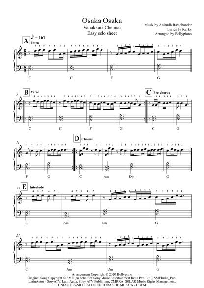 Osaka Osaka - Vanakkam Chennai easy piano notes