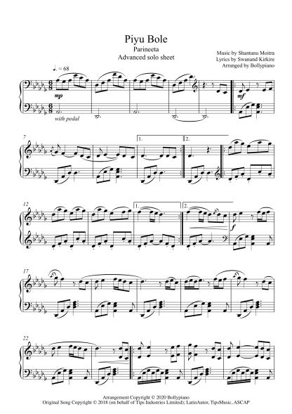 Piyu Bole - Parineeta advanced piano notes