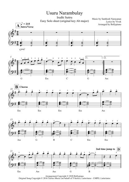 Usuru Narambulay - Irudhi Suttru easy piano notes
