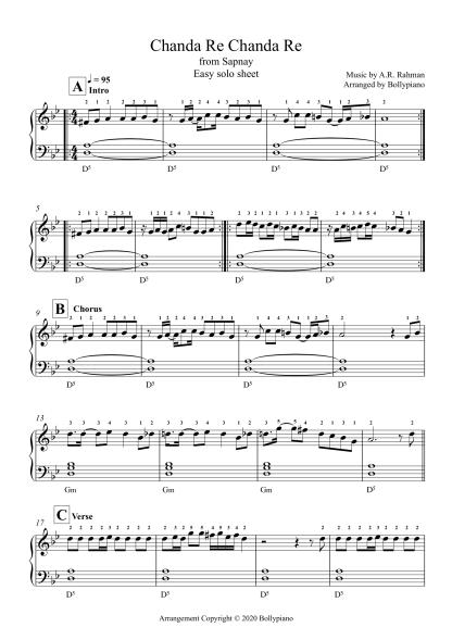 Chanda Re Chandra Re - Sapnay easy piano notes