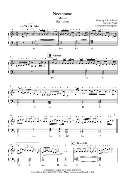 Neethanae - Mersal easy piano notes