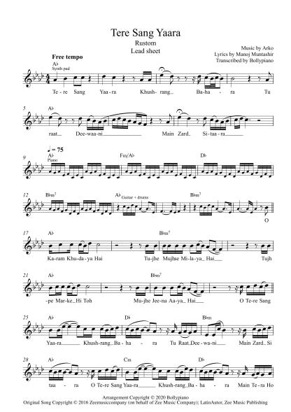 Tere Sang Yaara - Rustom flute / violin notes