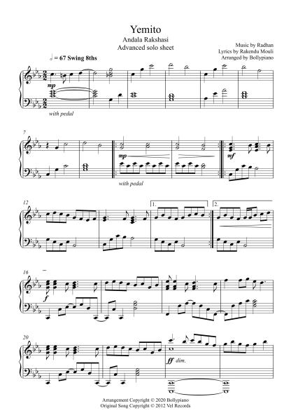 Yemito - Andala Rakshasi advanced piano notes