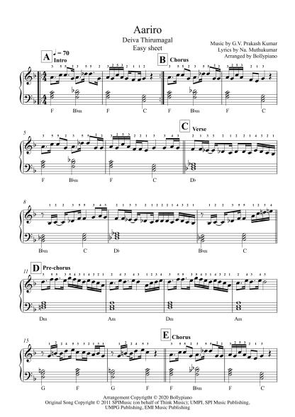 Aariro - Deiva Thirumagal easy piano notes