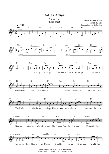 Adiga Adiga - Ninnu Kori flute / violin notes